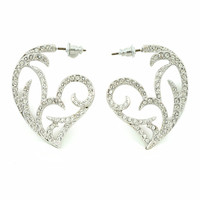 Swarovski Crystal Filigree Heart Earrings
