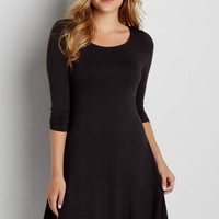 3/4 sleeve t-shirt dress with peek-a-boo back in black | maurices