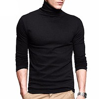 Slim Tops New stretch t shirt turtleneck long sleeve cotton Tees