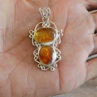Natural Amber pendant,Stone Pendant,Amber Necklace,Women Unique Gift for Mother's Day pendant,Amber Jewelry,Sterling silver amber stone Neck