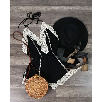 Final Sale - Gypsy Lace Romper in Black