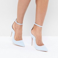 Lost Ink Pale Blue Ankle Strap Court Shoes at asos.com