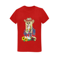 Cowgirl Sugar Skull Red Sunny Women's T-shirt(USA Size) (Model T01) | ID: D1506377