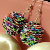 Ball Dangle Earrings Made Entirely of Duct Duck Tape Made to Order Custom Any Color Can Be Ornaments or Decorations