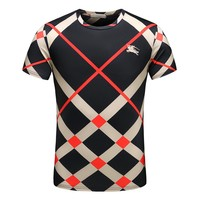 BURBERRY Trending Men Casual Embroidery T-Shirt Top Tee Black
