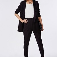 Missguided - Premium High Waisted Cigarette Suit Trousers Black