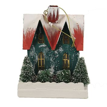 Holiday Ornament Retro Paper House Light Up Retro Vintage Kitsch - PO1077R TEAL