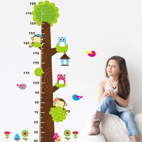 Monkeys owls birds flower Height stickers chart Wall Decals for kids rooms Cartoon Nursery Children kids Room Decor Art Poster