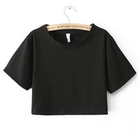 Black Oversized All Basic Cropped Top