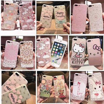 Lovely Cartoon Hello Kitty Case for Iphone 6 6S 6plus 7 7plus 8 8plus Cute Bow Tpu Silicone Clear Case Back Cover Free Shipping