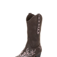 Girl's Vintage Faux Leather Boot With Pink Rhinestones