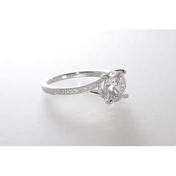 Sterling Silver CZ Ring 8mm Round Center Stone with Accent Stones