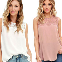Chiffon Tank Top Women 2017 Summer Sleeveless Blouse Shirts Sexy Lace Crochet Camis Loose Casual Tops Vest Solid Beach Vest Top