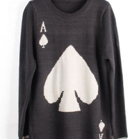 Long-Sleeved  Spades Pullover Sweater
