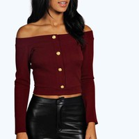 Rebecca Off The Shoulder Button Textured
