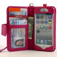 Amazon.com: Navor iPhone Life Protective Deluxe Book Style Folio Wallet Leather Case with Removable Strap for iPhone 5 Multifunctional - Hot Pink: Cell Phones & Accessories