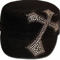 Unisex 100% Cotton Silver Studded Cross Accent Army Military Cadet Hat / Cap