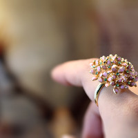 Large Pink Bouquet Ring floral Flower Adjustable Ring Marriage Bridesmaid