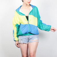 Vintage 80s Windbreaker Jacket Yellow Teal Blue Green Color Block Bomber Jacket Surfer 1980s Sporty Wind Breaker Track Jacket M L Large