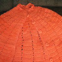 Vintage Handmade Women's Poncho Wrap With Buttons And Pocket Holes