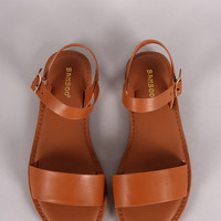 Bamboo One Band Ankle Strap Flat Sandal