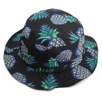 Women Grils Cartoon Pineapple Printed Bucket Hats Outdoor Sun Caps