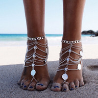 New Barefoot Adorning Anklet in  Antiqued Silver   Boho Barefoot Sandal