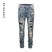 kanye west men Slim fit jeans justin bieber hip hop Male trousers ripped jeans for men paint print jeans Streetwear jeans men