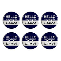 Lance Hello My Name Is Plastic Resin Button Set of 6
