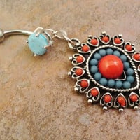 Southwestern Red and Turquoise Belly Button Jewelry Ring