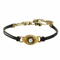 Small gold evil eye bracelet w/ crystal center on leather strap, handmade at Michal Golan Studios USA