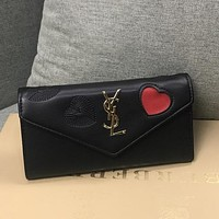 YSL Yves Saint laurent Women Fashion Leather Heart Purse Wallet