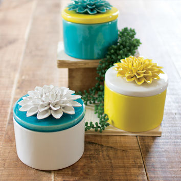 Set of 3 Low/Round Ceramic Canisters with Flower Tops- One Each