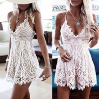 Women's Summer Sleeveless Lace Party Cocktail Short Rompers Jumpsuit Mini Dress