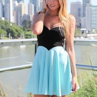 Blue & Black Strapless Flowy Dress with Cutout Side Detail
