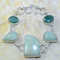 Aquamarine and Emerald Bracelet in Silver