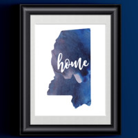 Mississippi Home Watercolor Print   State Home Poster   Wall Decor