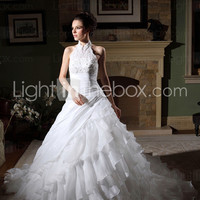 [US$ 449.99] Ball Gown Halter Cathedral Train Organza Tiered Wedding Gown