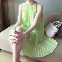 Green Halter Pleated Chiffon Dress