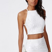 Missguided - Kylie Sequin Cross Back Crop Top White