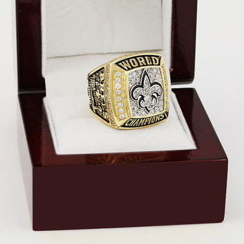 2009 New Orleans Saints XLIV Super Bowl Football Championship Ring Size 10-13 With High Quality Wooden Box Fans Best Gift