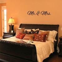 """Wall Decal Mr and Mrs Wedding Vinyl Lettering 36""""W x 7""""H 22381"""