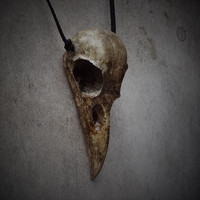 Raven Skull - Cast Bone Resin Replica (Aged Finish) Necklace with Suede Cord - Taxidermy Crow Poe Goth Bird Skull