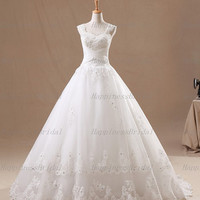 Ball gown Straps Court Train Tulle Applique White Long Wedding Dresses Prom Dresses Formal Dresses Evening Dresses Party Dresses 2013