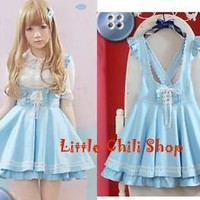 Trendy Sweet Cute Kawaii classical Punk Gothic Strap Jumpsuit Mini Skirts Blue