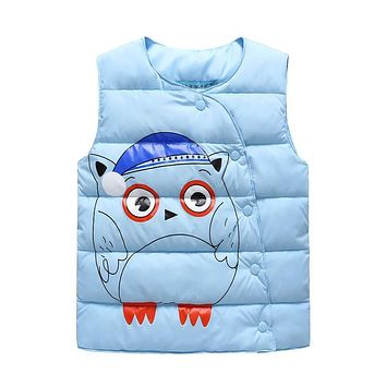 Retail 2017 New Baby Boys Girls Winter Vest Kids Warm Jacket Children Thick Clothes 5 Color Suit For 3-7 Years Old
