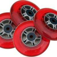 4 RED Wheels W/Abec 7 Bearings for RAZOR SCOOTERS 100mm
