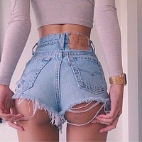 Fashion Distressed Ripped High Waist Denim Short