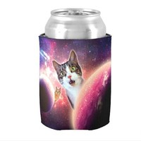 Funny Galaxy Cat Can Cooler Koozie
