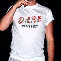 D.A.R.E To Dissent White Tropical Tee by TopShelfVintageCo on Etsy